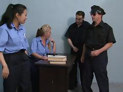 Police, Cop, Foursome, Group, MILF, Orgy