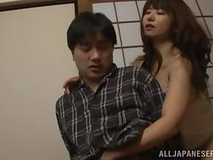 Naomi Sugawara pulls her panties aside so he can finger her twat