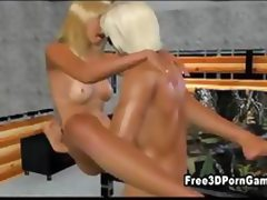 Busty 3D blonde babe gets her pussy pounded
