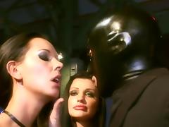 Laly Vallade gets DP pounded in group sex after sucking cock with another chick