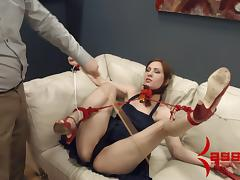 Babe in bondage enjoying her big ass getting spanked in BDSM sex