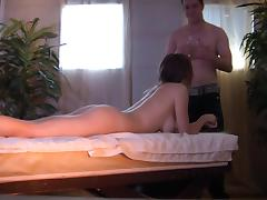 Bruno B drilled Ashley Hills's oiled pussy in a nasty fuck massage