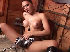Latina shemale plays with cock in solo