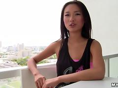Sexy asian hottie Alina Li treats huge cock a hardcore blowjob