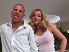 Holly Morgan lets a man lick her pussy, then takes a ride on his cock