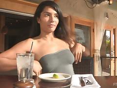 Shazia demonstrates her nice slim body for the camera