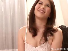 Chubby Japanese babe with big tits gives a blowjob before getting her pussy drilled hardcore