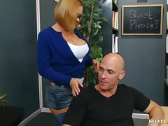 Flirtatious college babe in glasses gets drilled hardcore