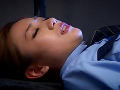 Police, Asian, Blowjob, Bra, Close Up, Cop