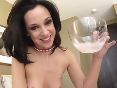 Jada Stevens swallows cum after giving blowjob and face fucked in POV