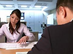Hina Akiyoshi gets fucked in an office in CFNM video
