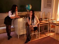 Two slutty Japanese teachers fuck a co-worker at their work place