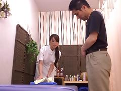 Japanese nurse Yui Hatano pleases a patient with a hot blowjob