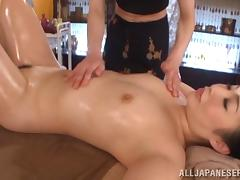 Vivacious Asian lesbian with small tits gets an oily massage