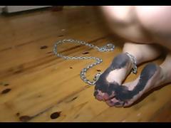 Butt Ass Naked girl scrubbing floor with dirty feet