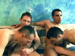 Cock sucking gay stud ass fucking in twinky group sex
