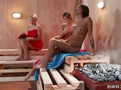 Hot sauna pussy licking and fingering with three naughty hot ass lesbians