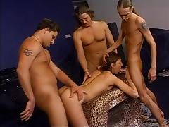 Fantastic gangbang clip with engaging chick Brandy Lyons
