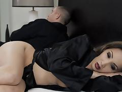 Careful brunette with hot ass swallows cum after her pussy is being banged hardcore
