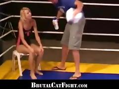 Fight girl ending with a double penetrated