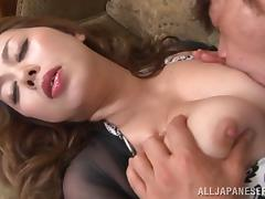 Voluptuous Japanese pornstar moans while getting her pussy licked then fucked hardcore