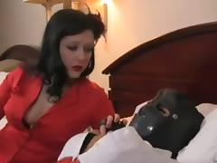 Mistress uses strap on and urged smoking on fem sub