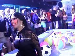 Crazy group sex scene with bitches sucking and riding cocks in a club