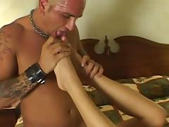 She gets her feet licked while she gets her pussy fucked