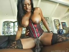 Busty ebony cowgirl with big tits getting drilled hardcore by a big black cock