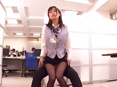 Petite Asian babe in glasses getting her pussy fingered in the office
