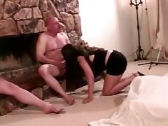 BBW with enormous tits hard fucked by 2 men