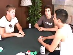 Kinky gay action during strip poker game