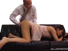 Emiri Okazaki's shaved pussy gets pounded with a naughty and hot horny stud