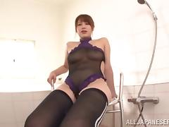 Hot porn sweetheart Riko Honda plays pussy with huge sex toy in masturbation