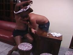 Nasty tranny from shemale heaven drilling curious hunk ass