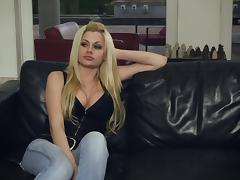 Adorable blonde with long hair in jeans being banged hardcore doggystyle on sofa
