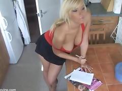 Sexy Hot Blonde DownBlouse 2 - Big Boobs