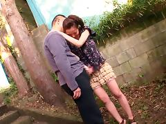 Delightful Asian babe gets a creampie facial after giving a wild tit job outdoors
