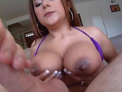 Penelope Piper shows her huge boobs and gives a hot blowjob