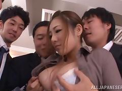 Cute Japanese doll swallows cum after a hot facial gang bang