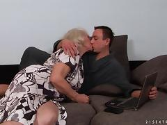 Horny granny with a hairy pussy getting penetrated hardcore