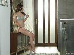 Minnie Manga in pussy fingering and nasty tit slamming in hot masturbation