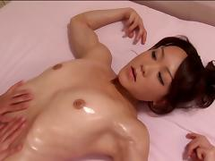 After some mutual oily massage these two Asian girls lick pussy
