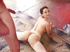 Big tits ballerina Aleska Diamond is super flexible in hardcore video