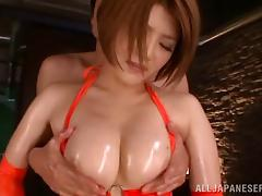 Japanese babe coated in oil and fucked in her hot cunt