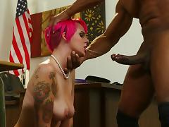Charming redhead with big tits rides a big black cock after getting her face fucked