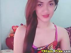 Asian Ladyboy Tranny Jerking Her Cock