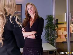 Two horny babes with huge boobs dike out at the office