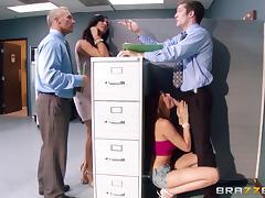 Boss, Blowjob, Boss, Caught, Cowgirl, Ffm