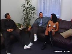 A couple of guys double penetrate a hot chick and make her cum